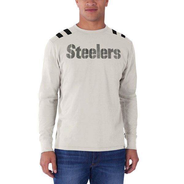 34669a046 Pittsburgh Steelers 47  Brand Bruiser Long Sleeve Cream T-Shirt - Official  Online Store