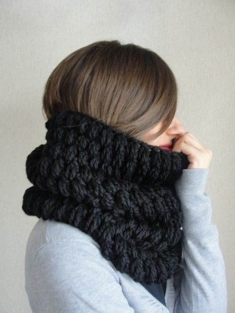 Black Soft Scarf Women And Men Scarf Circle Scarf