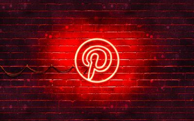 Download wallpapers Pinterest red logo, 4k, red brickwall, Pinterest logo, social networks, Pinterest neon logo, Pinterest besthqwallpapers.com