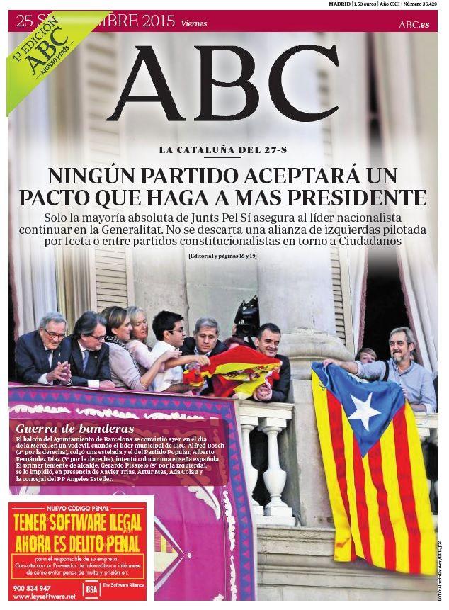 La portada de ABC del viernes 25 de septiembre