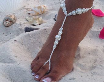 Ivory Bridal Barefoot Sandals Wedding от Thebridalbowtique на Etsy