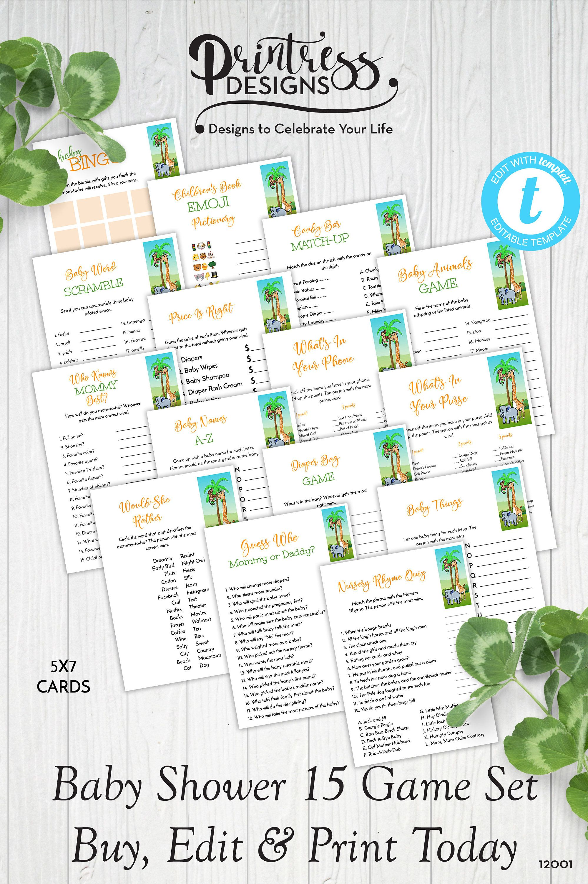 Safari Baby Shower Games Set Of 15 Templates Instant