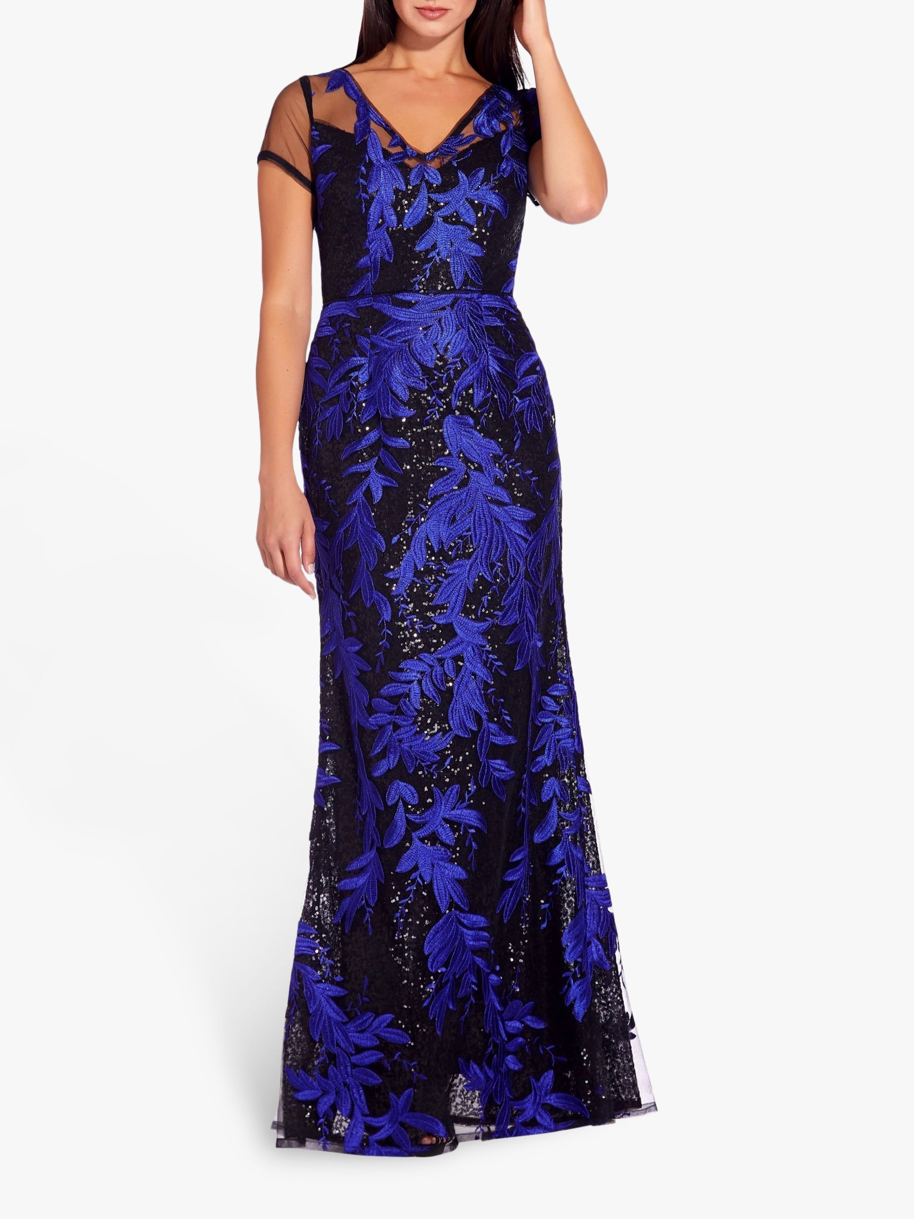 Adrianna Papell Foliage Mermaid Dress, BlackBlue | Dress