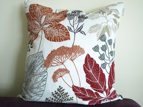 Pillow cover white burgundy red brown black grey beige leaves Botanical Decorative pillow for ...