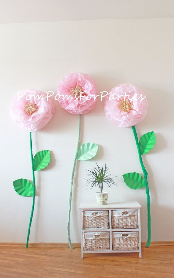 3 Oversized Paper Flowers Alice In By Pompomsforparties On Etsy