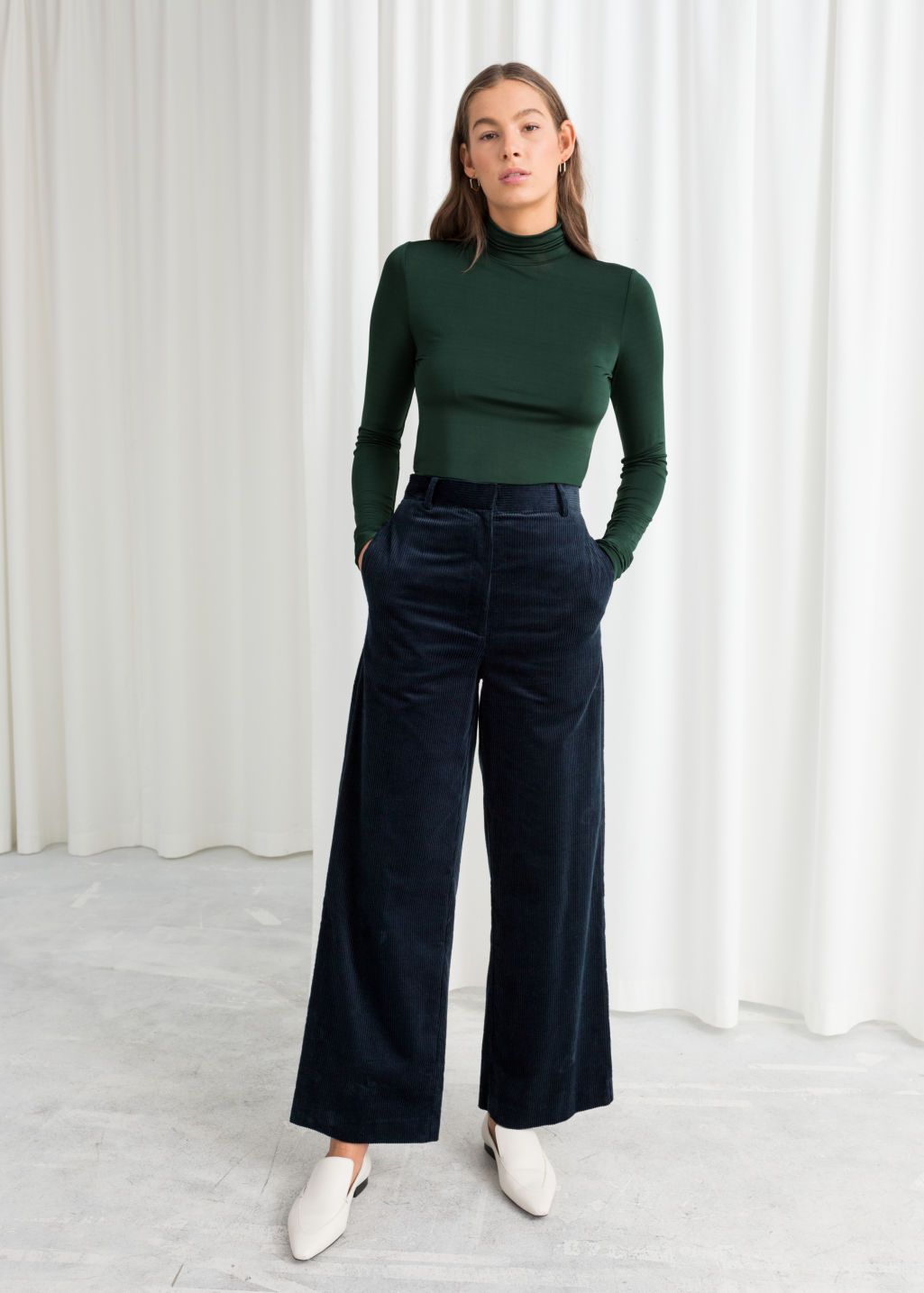 6c432e1879 High Waist Wide Corduroy Trousers - Blue - Wide Trousers - & Other Stories