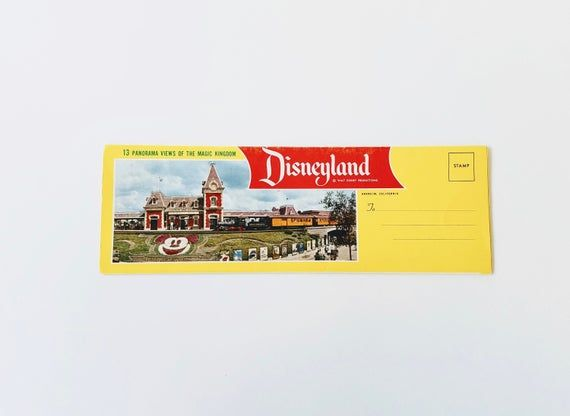 1950's Vintage Disneyland 13 Panorama Views Of The Magic Kingdom Postcard Foldout #disneylandfood