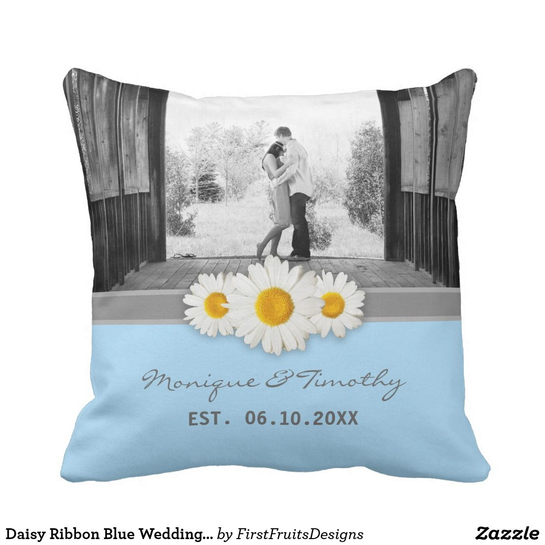 Daisy ribbon blue wedding anniversary throw pillow in my