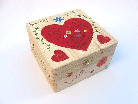Large Anniversary Box With Heart Design Wedding Gift Anniversary Gift Hand Painted Keepsake Box Wooden Wedding Memory Box 5 Years Painted Memories Painted Boxes Keepsake Boxes