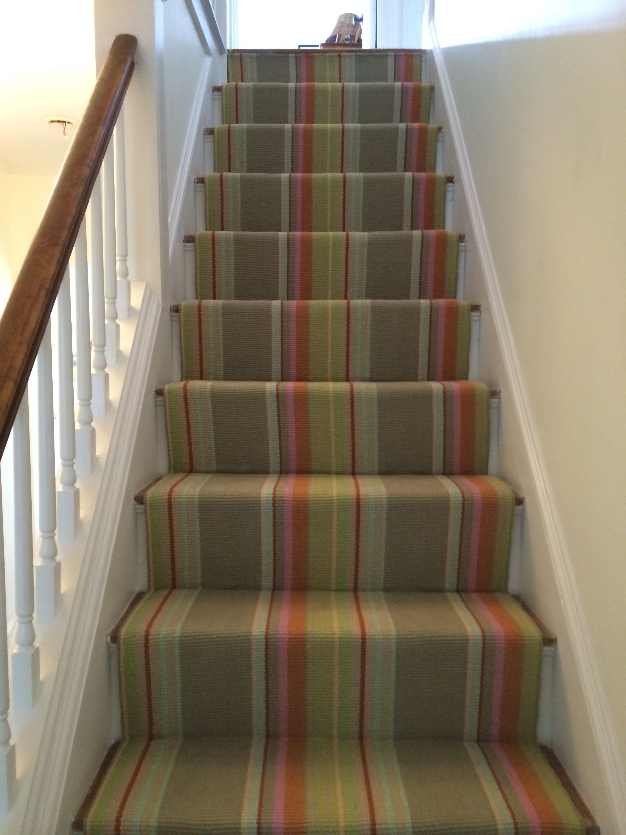 This wool carpet was fabricated and installed as a straight stair