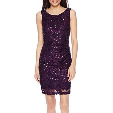 951f83f0 jcpenney.com | Scarlett Sleeveless Sequin Lace Sheath Dress - Petite $69.99  on sale