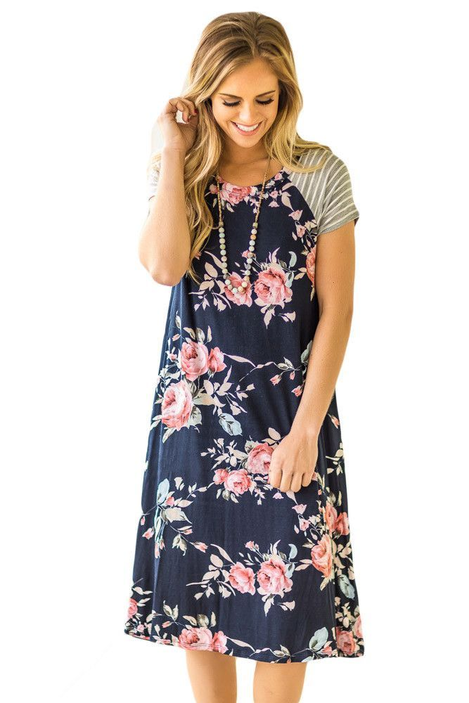 ef936dbb3d Navy Blue Backdrop Floral Print A-line Loose T-shirt Dress