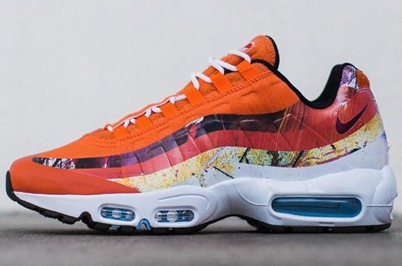 huge selection of 2f9e4 c398c Nike Air Max 95 Orange Red-White Resistant Breathable Lightweight Sneakers  Free Shipping