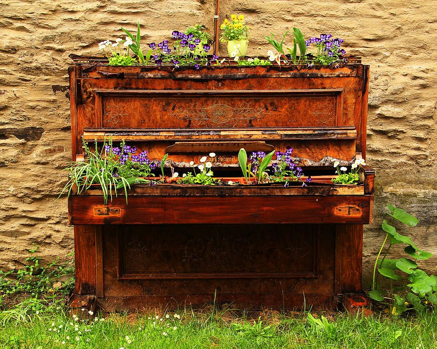 Old Piano Flower Planter In Germany | Pianos, Planters and ...