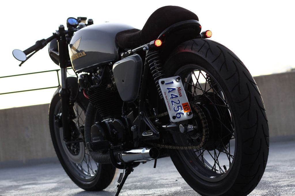 dark grey metallic cafe racer   vintage racers: joe's cb450 cafe