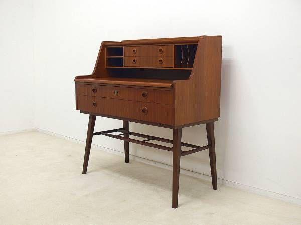Teak Furniture スウェーデン製チーク材ライティングビューロー 北欧ウェグナー インテリア 雑貨 家具 Modern ¥1000yen 〆07月31日