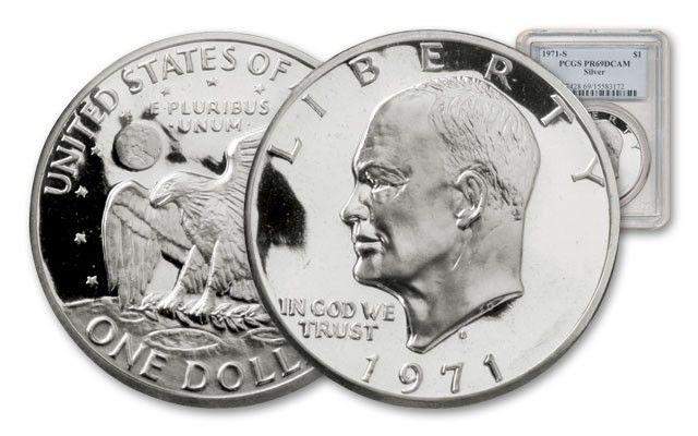 1971 S 1 Dollar Eisenhower Silver Coin Pcgs Pr69 Deep Cameo Govmint Com Silver Coins Coins Dollar