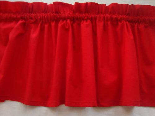 Bright Cherry Red Valance Curtain For Kids Room Or Kitchen