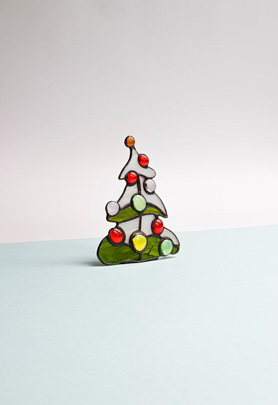 Christmas Tree Stained Glass Candle Holder Tealight Free Standing