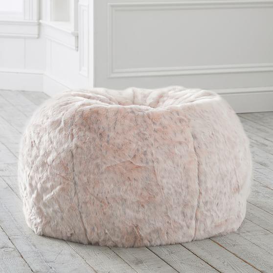 Blush Leopard Faux Fur Bean Bag Chair In 2020 Bean Bag