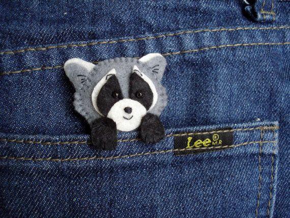 Felted Raccoon brooch, Pocket pet, Raccoon, Felt animal