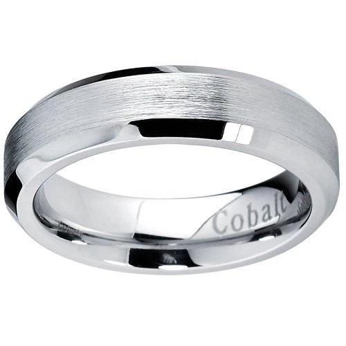 Cobalt Chrome Brushed Wedding Ring with Beveled Edges