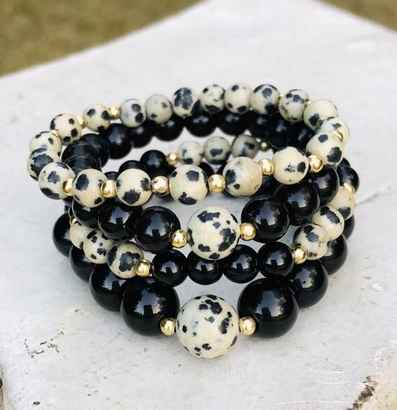 Dalmation Bead Bracelet, Statement Jewelry, Gemstone Jewelry, Gift Ideas for Her, Unique Gifts for Her, Bridesmaids gifts, chunky elastic #gemstonejewelry
