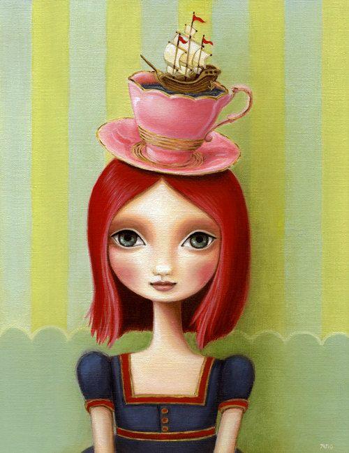 Items Similar To Girl Teacup Schooner