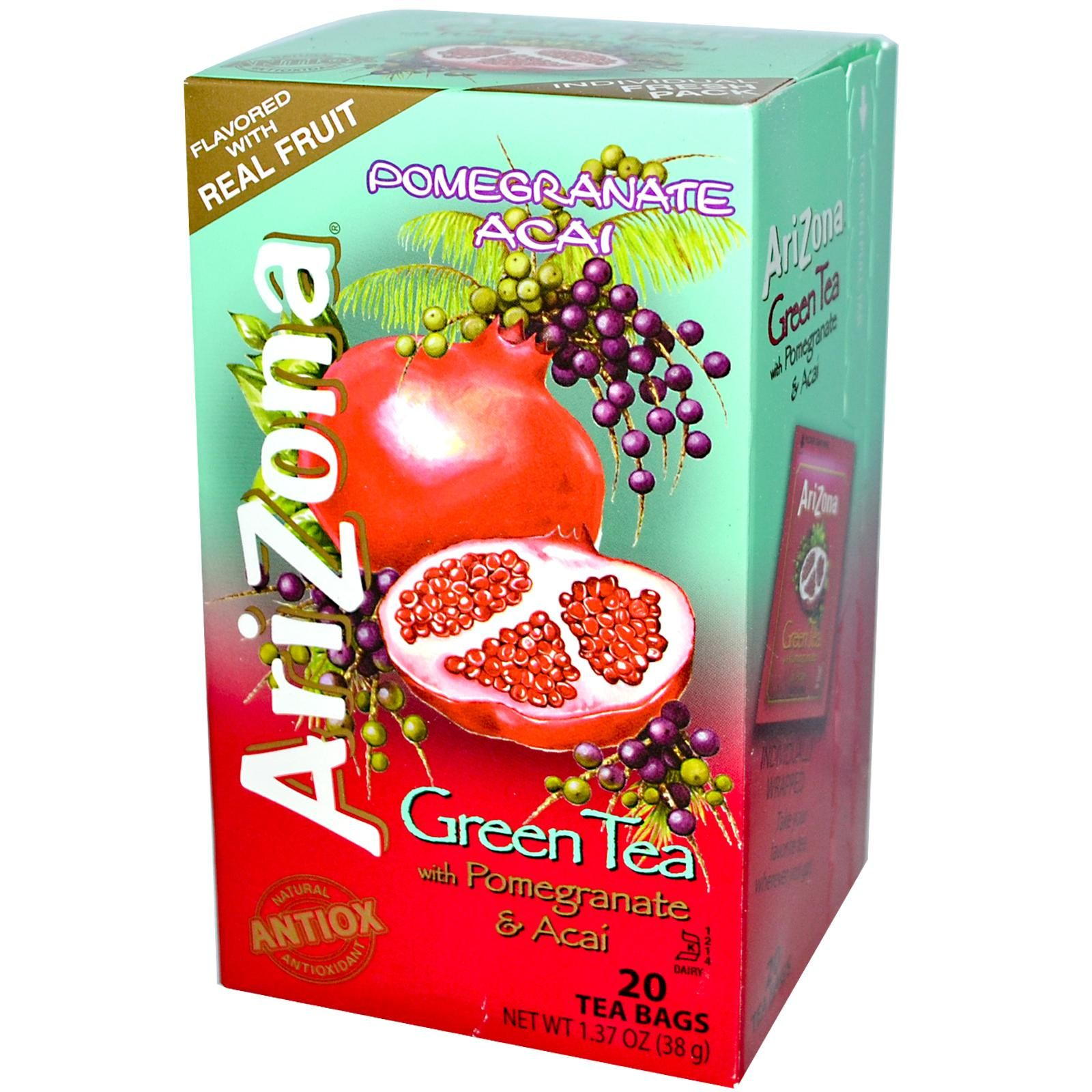 AriZona, Green Tea, with Pomegranate & Acai, 20 Tea Bags, 1.37 oz (38 g) - iHerb.com. Bruk gjerne rabattkoden min (CEC956) hvis du vil handle på iHerb for første gang. Da får du $5 i rabatt på din første ordre (eller $10 om du handler for over $40), og jeg blir kjempeglad, siden jeg får poeng som jeg kan handle for på iHerb. :-)