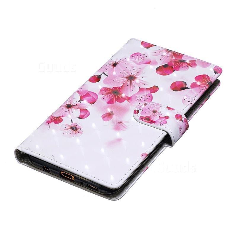 2019 的 Red Flower 3D Painted Leather Phone Wallet Case for Samsung