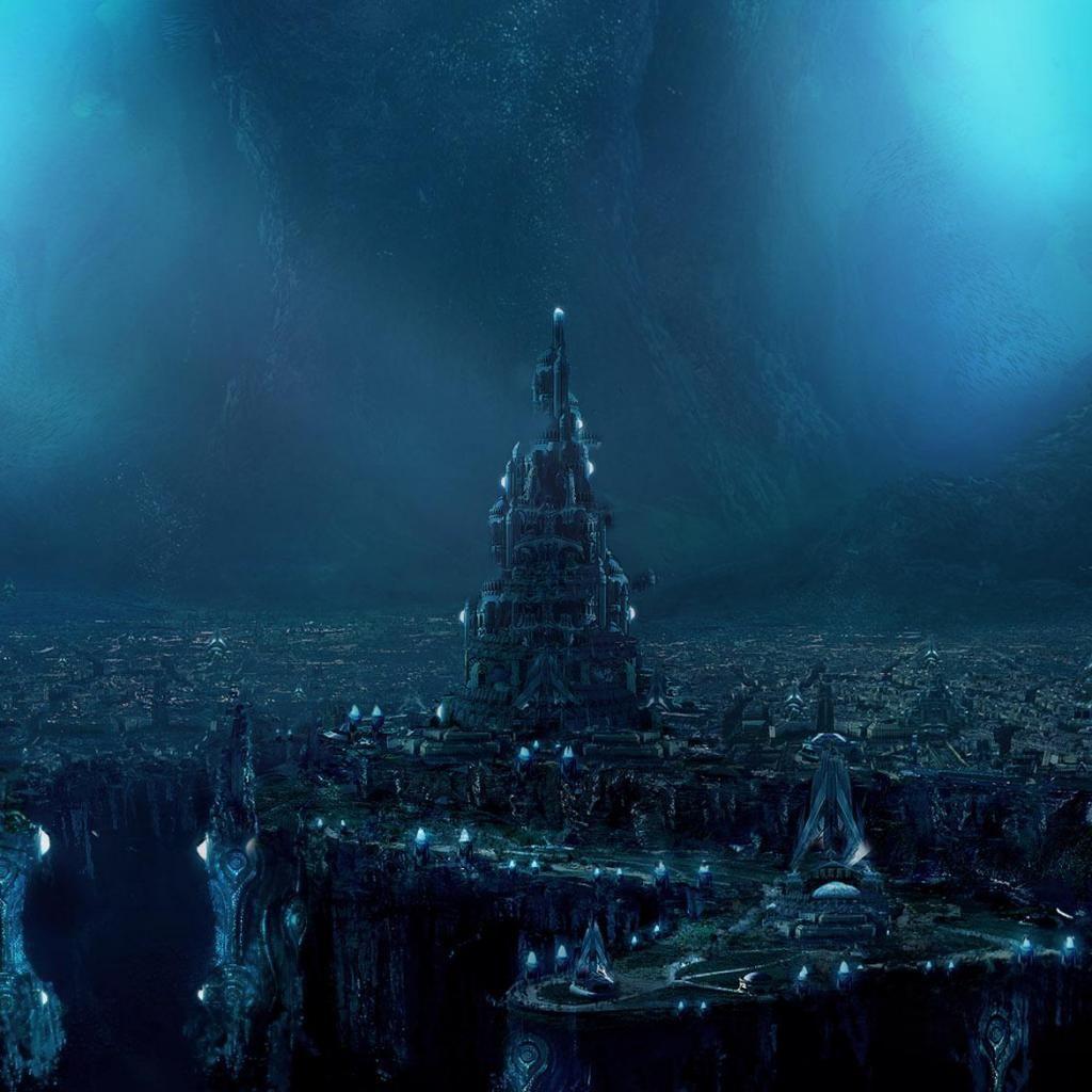 Atlantis Futuristische Stadt Stadt Wallpaper Unterwasserstadt