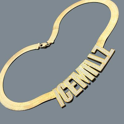 Custom Hip Hop Jewelry Silver Nameplate Necklace with CZ Crystals