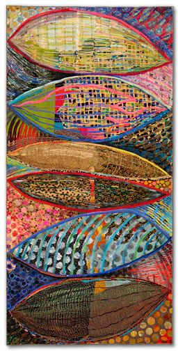 Sue Benner - art quilt  WOW.  CELLULAR STRUCTURE VI (STACK OF SIX)   dye and paint on fabric (silk, cotton, polyester, commercial and found fabrics, recycled clothing), fused, mono-printed, machine quilted