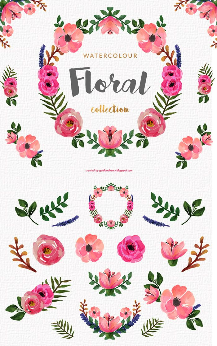 Free this is set of 14 high quality hand painted - High resolution watercolor flowers ...
