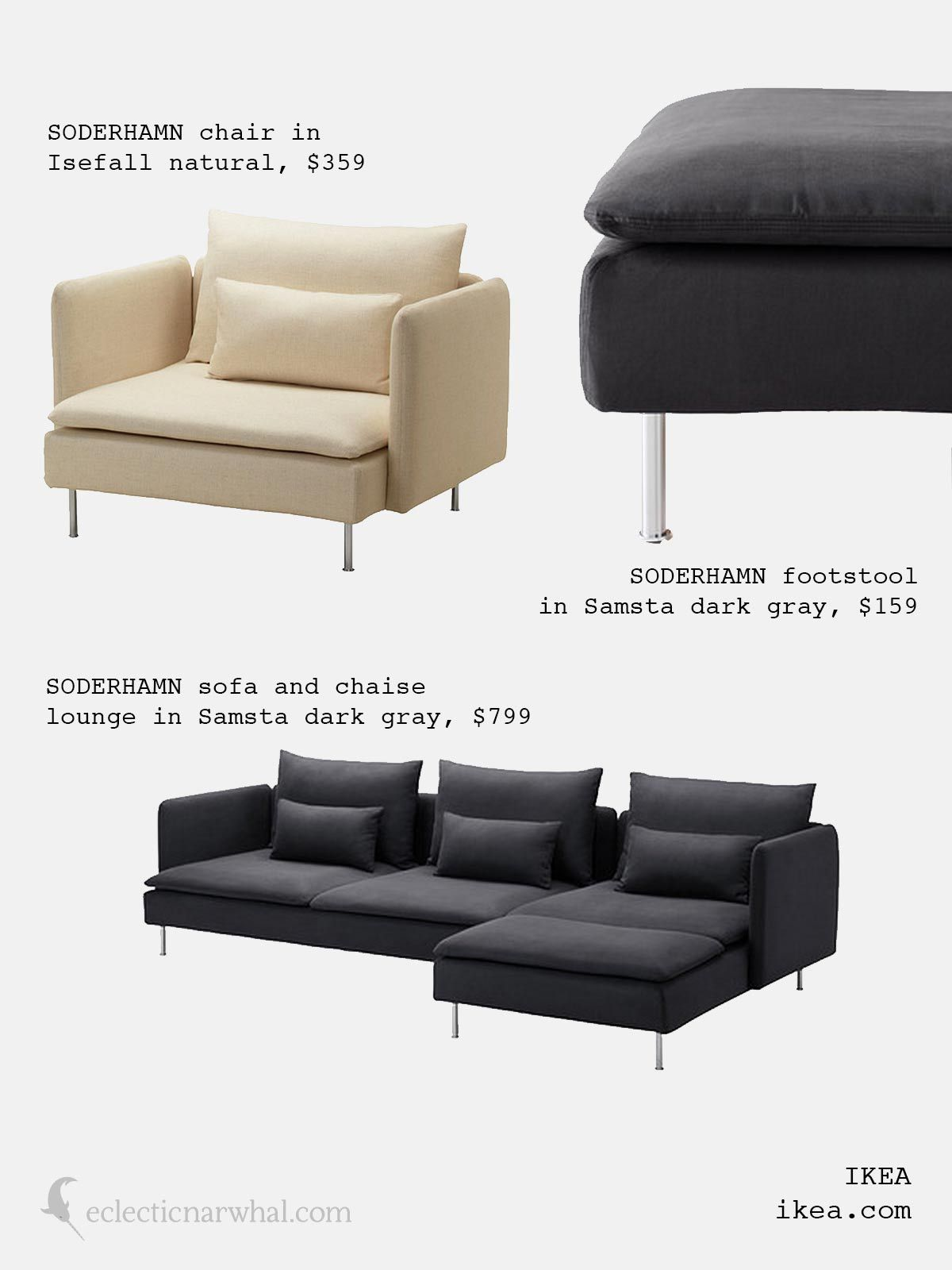 SÖDERHAMN sofa and chaise lounge with footstool and chair from Ikea | Scandinavian Simplicity on eclecticnarwhal : chaise lounge chair ikea - Sectionals, Sofas & Couches