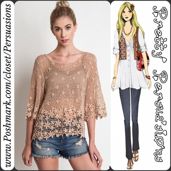 """NWT Mocha Latté Floral Lace Crochet Tunic Top NWT Mocha Latté Floral Lace Crochet Tunic Top  Available in sizes S/M & M/L Measurements taken from a size S/M Length: 22""""/25"""" (front/back length) Bust: 38"""" Waist: 36"""" Hips: 40""""  Features  • floral crochet design • relaxed, easy fit  • pretty mocha color • has stretch   Cotton Blend  Bundle discounts available  No pp or trades  Item # 1o1-5•11-0390 Pretty Persuasions Tops"""