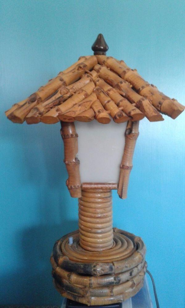 Vintage Retro Mid Century Bamboo Lamp Post Light 14 5 Table Lamp W Switch Tiki Bamboo Lamp Post Lights Lamp Post Lights