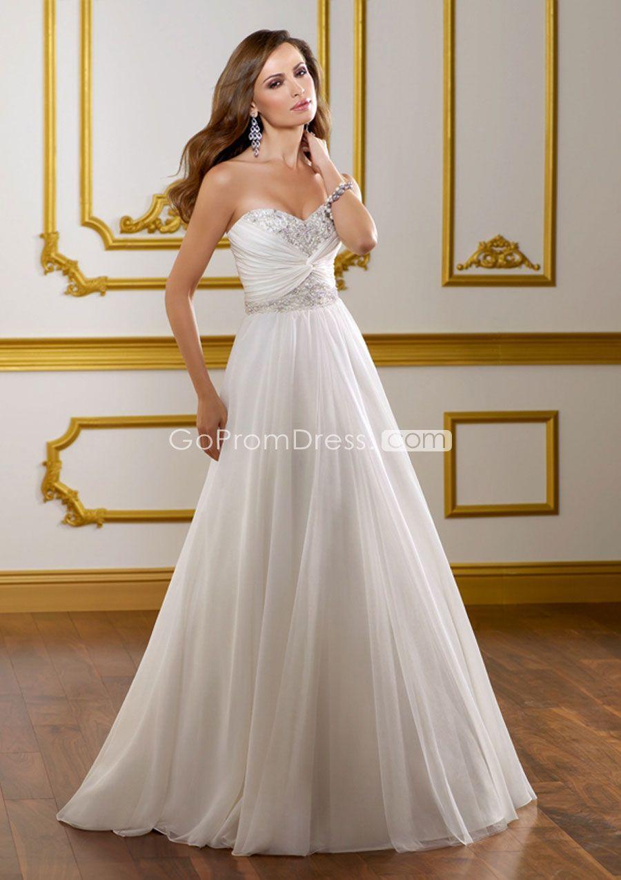 Beach wedding dress under 500  Aline Chiffon beaded Sweetheart zipper back Pleats Wedding Dress