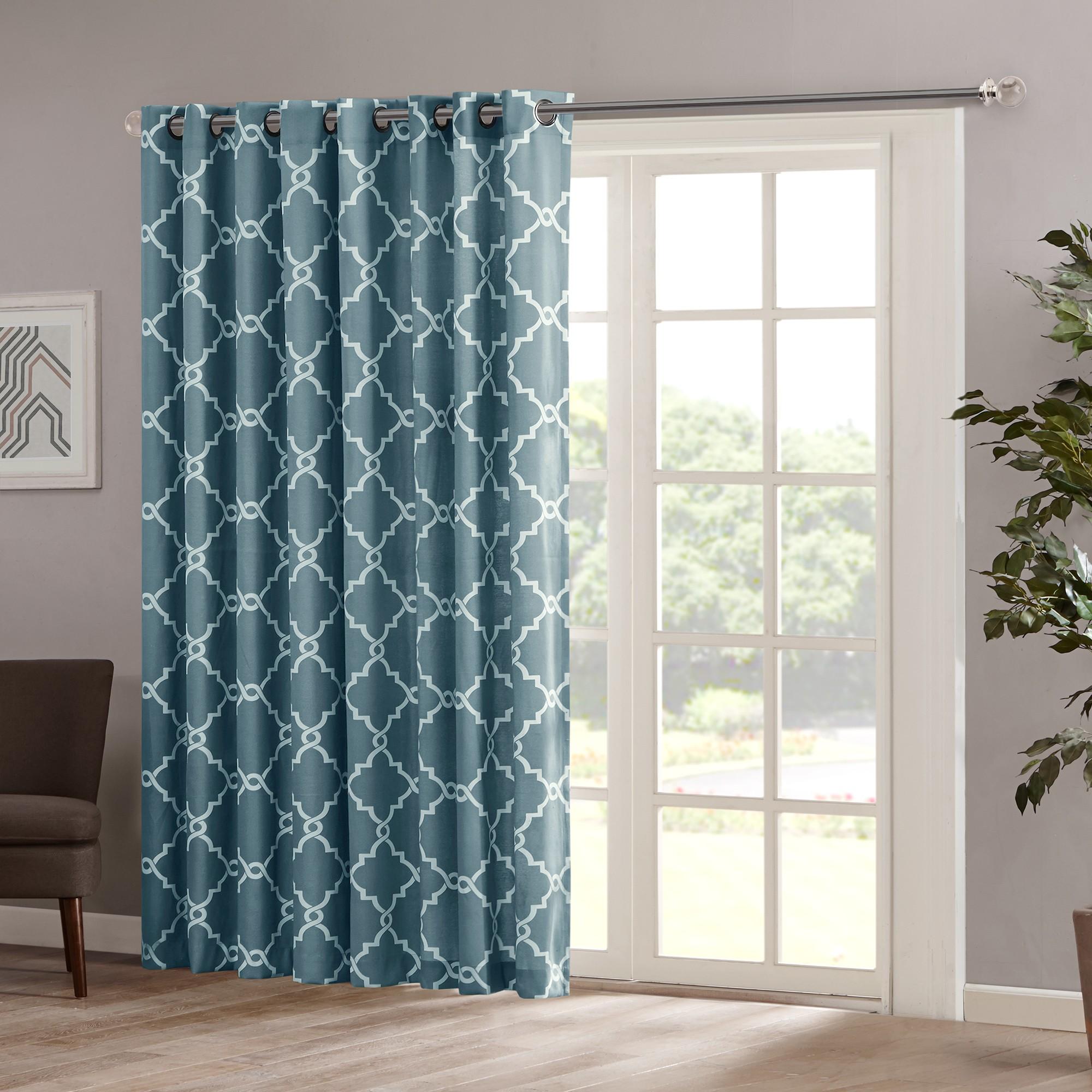 84 X100 Sereno Fretwork Print Light Filtering Extra Wide Curtain Panel Blue Patio Windows Glass Door Curtains Sliding Glass Door Window