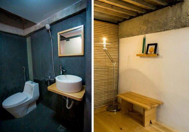 Phòng tắm xinh xắn, đơn giản nhưng vẫn tiện dụng. Điểm đặc biệt của căn nhà này, theo tiết lộ từ đơn vị thiết kế, là vẫn còn những khoảng không gian khá thô, chưa được hoàn thiện, thậm chí nham nhở xi măng, chuyển thể từ ý tưởng về sự thô mộc của chủ nhân căn nhà.