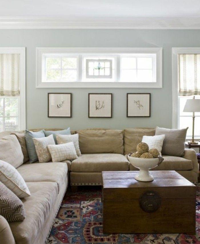 Formidable id e peinture salon vert p le large canap beige tr s confortable table vintage - Canape tres confortable ...