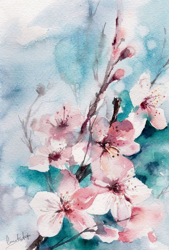 Almond Blossoms Painting Original Watercolor Painting Modern