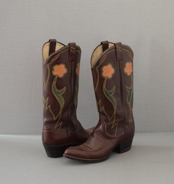 bee88b0b367 Santa Fe | 70s western inlay boots with flowers | brown ralph lauren ...