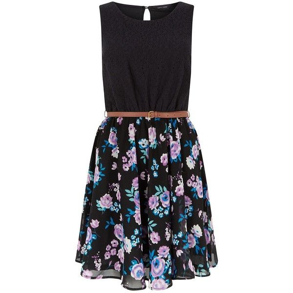 Black Floral Print Skirt Belted Skater Dress (525 MXN) ❤ liked on Polyvore featuring dresses, sleeveless floral dress, fit flare dress, skater skirts, floral circle skirt and floral dresses