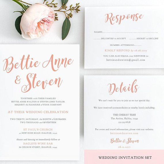 Wedding invitation suite shown in coral wedding printable set wedding invitation suite shown in coral wedding printable set invitation rsvp details bettie any colour diy printable template stopboris Choice Image