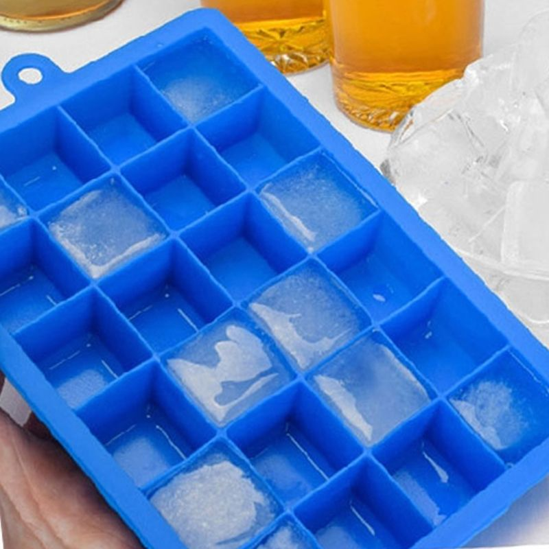 Grid DIY Creative Big Ice Cube 24 Mold Square Shape Silicone Ice Tray Fruit Ice Cube Maker Bar Accessories