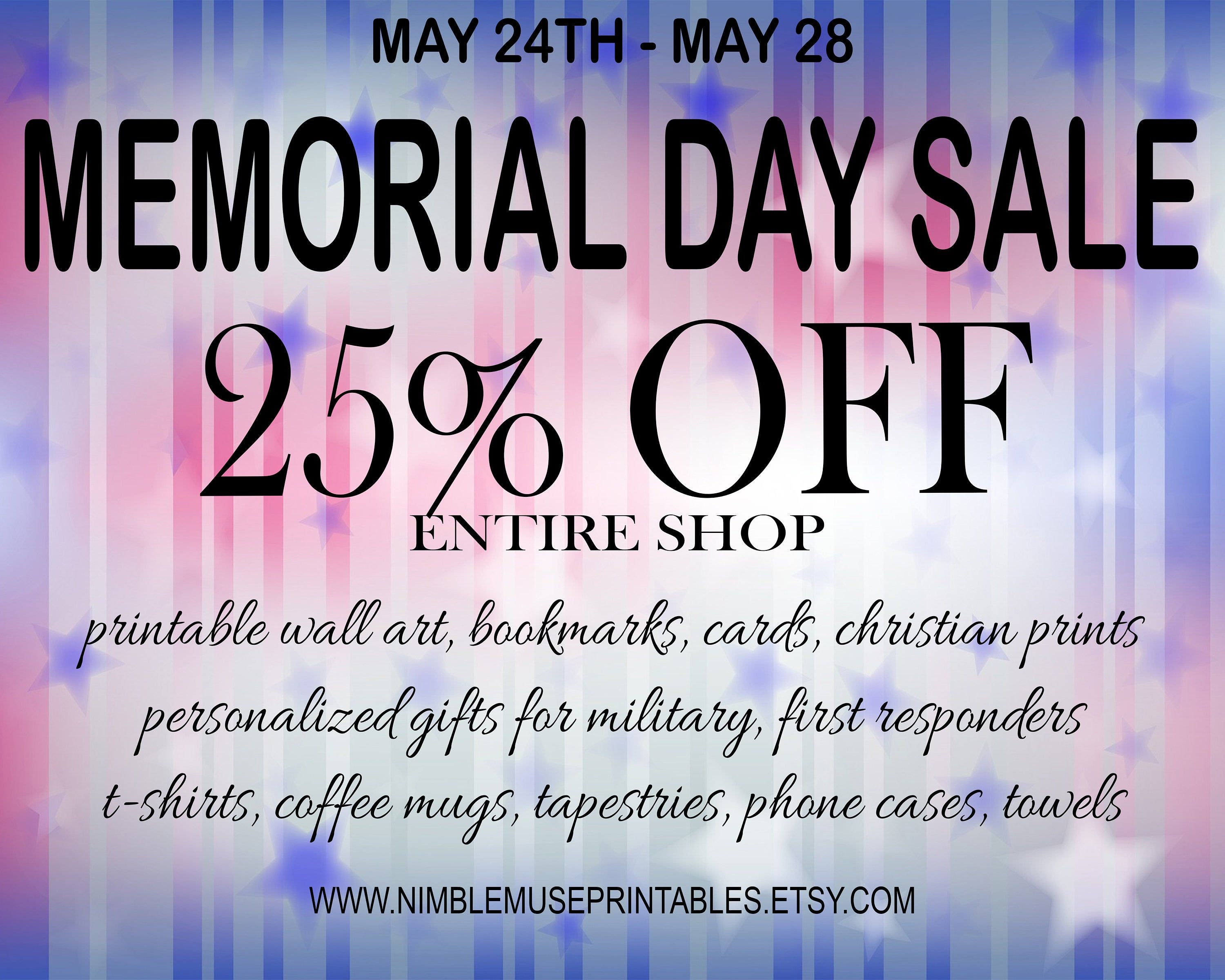 Memorial day 2019 sale 25 off entire shop personalized
