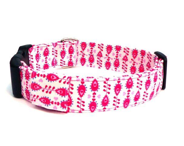 Hund: Halsbänder - Hundehalsband weiß-pink Tropfen - ein Designerstück von pepanella bei DaWanda