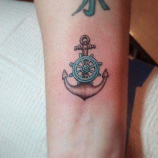 Blue Ship Wheel Tattoo Tatted Up Tattoos Anchor Tattoos