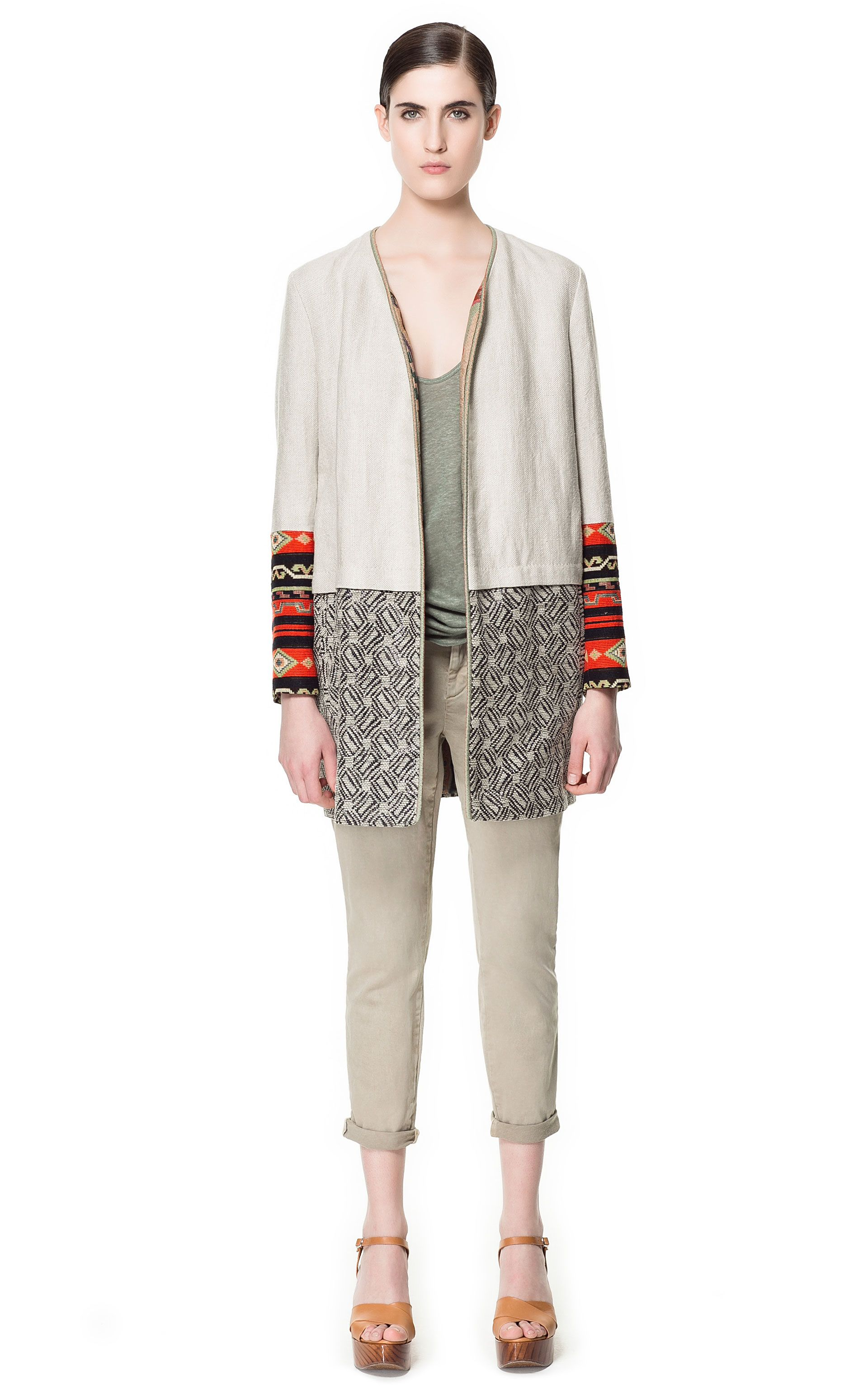 7409d4579a RUSTIC COMBINATION LINEN COAT - Coats - Woman - ZARA Canada | To ...